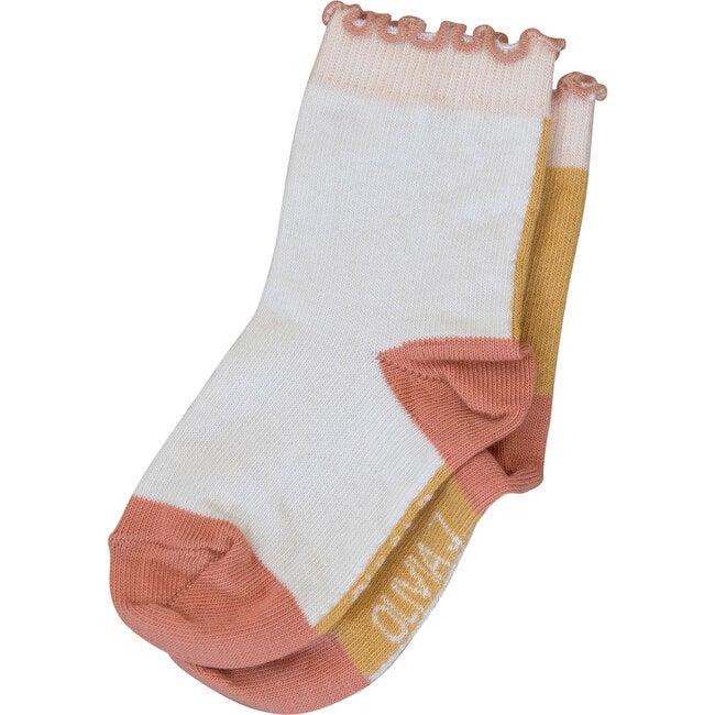 Presley Ankle Sock, Orange & White