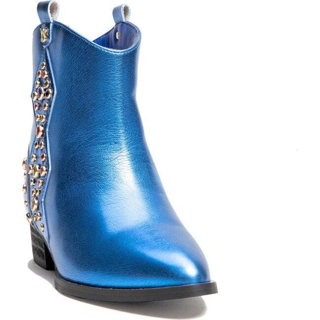 Miss Dallas Embellished Cowboy Boot, Blue Metallic