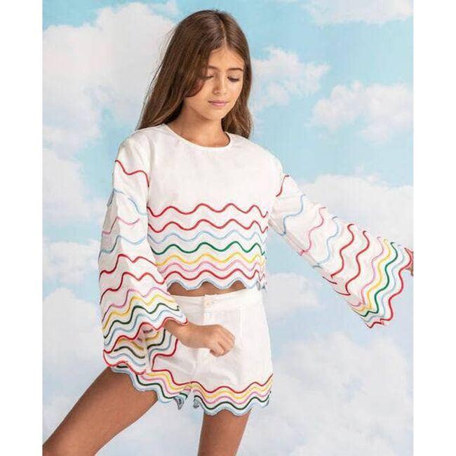 Rainbow Wave Short Set, White