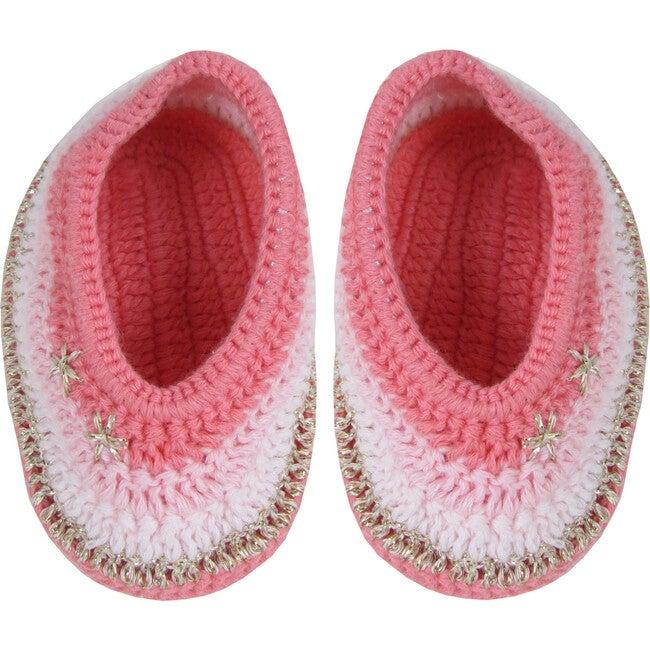 Crochet Rainbow Booties, Pink