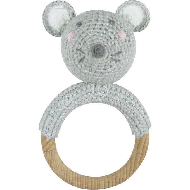 Crochet Mouse Ring Rattle Teether