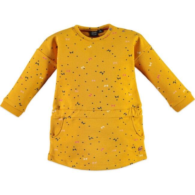 Flutter Print Dress, Mustard - Dresses - 1