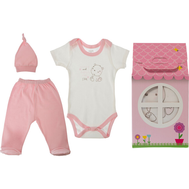 Patisserie Collection 3-Piece Layette Gift Set, Pink Bear