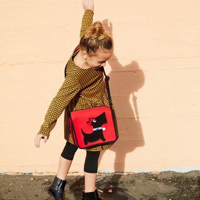 Scottie Crossbody Messenger Bag, Red and Black