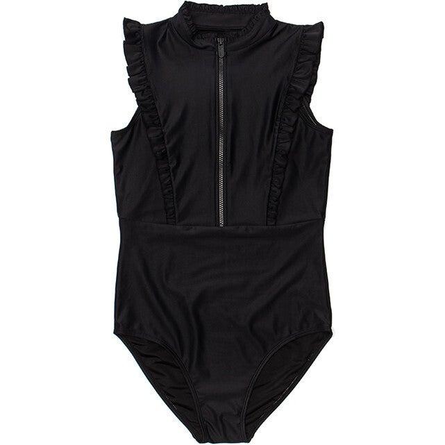 Women's Bella Sleeveless Ruffle One Piece Swimsuit, Black