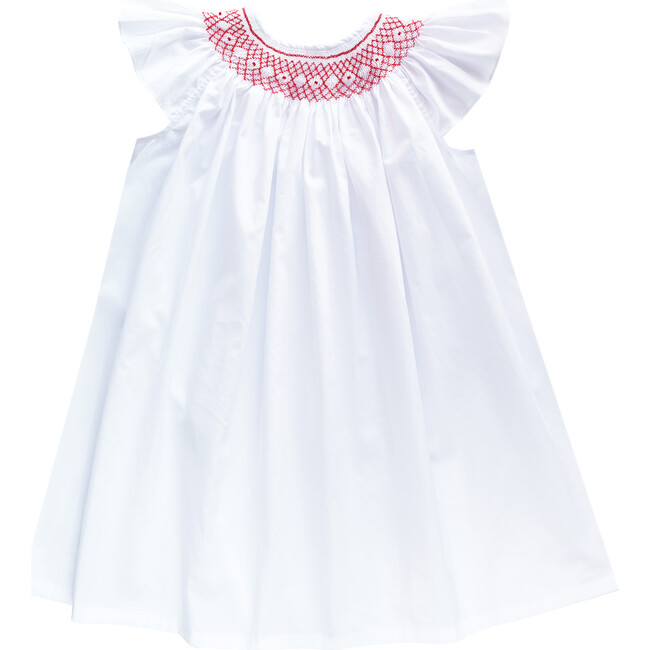 Alba Dress Embroidered, White & Red