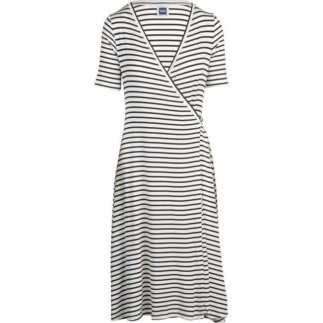 Women's Maya During & After Wrap Dress, Black & White Stripes