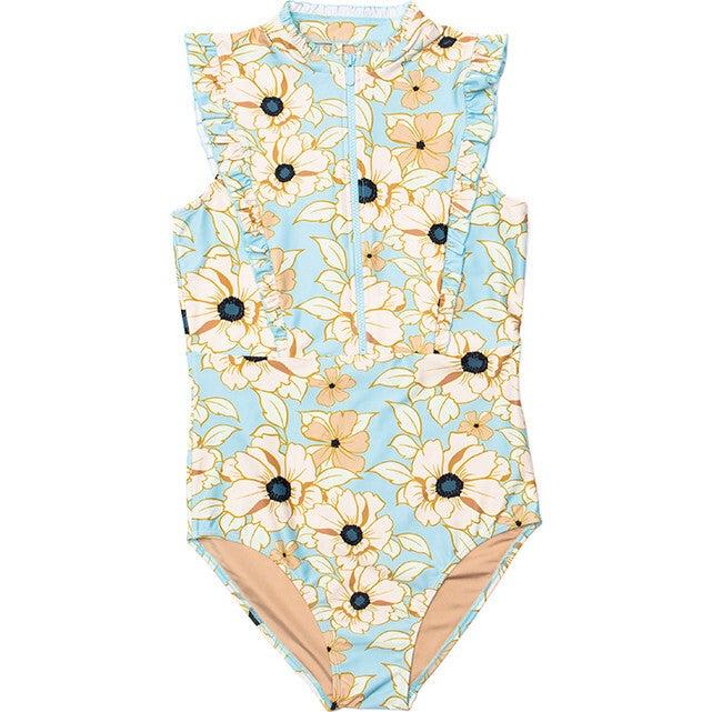 Women's Bella Sleeveless Ruffle One Piece Swimsuit, Eden Rose Print