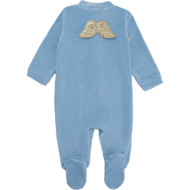 Angel Wing Gold Velour Sleepsuit, Dusty Blue
