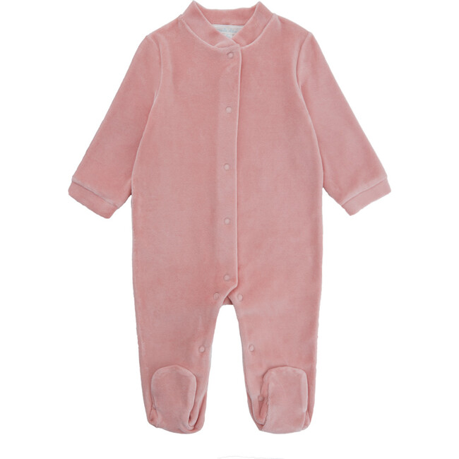 Angel Wing Gold Velour Sleepsuit, Dusty Pink
