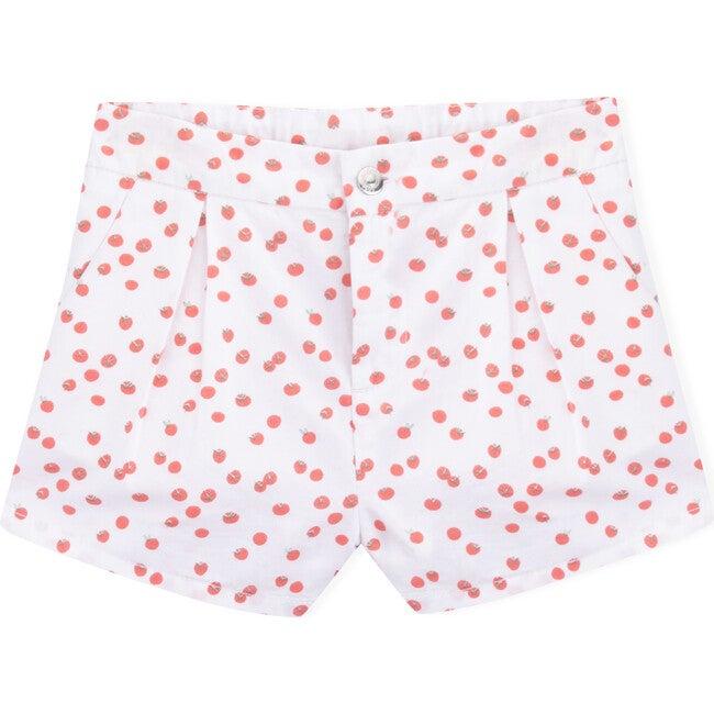 Twill Cherry Tomato Shorts, White
