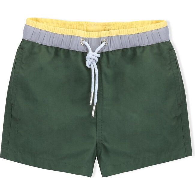 Swim Shorts, Army Green - Swim Trunks - 1