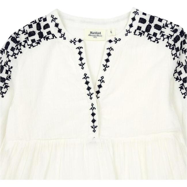 Ruby Embriodered Dress, White