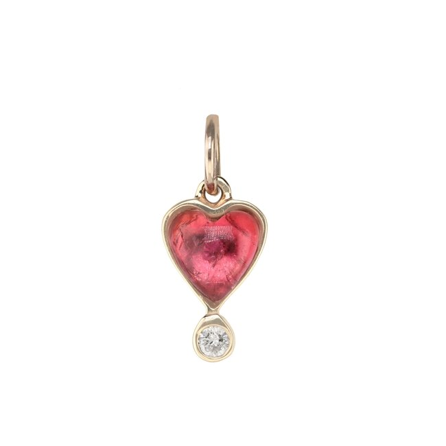 Byrdie Heart Charm, Pink Tourmaline
