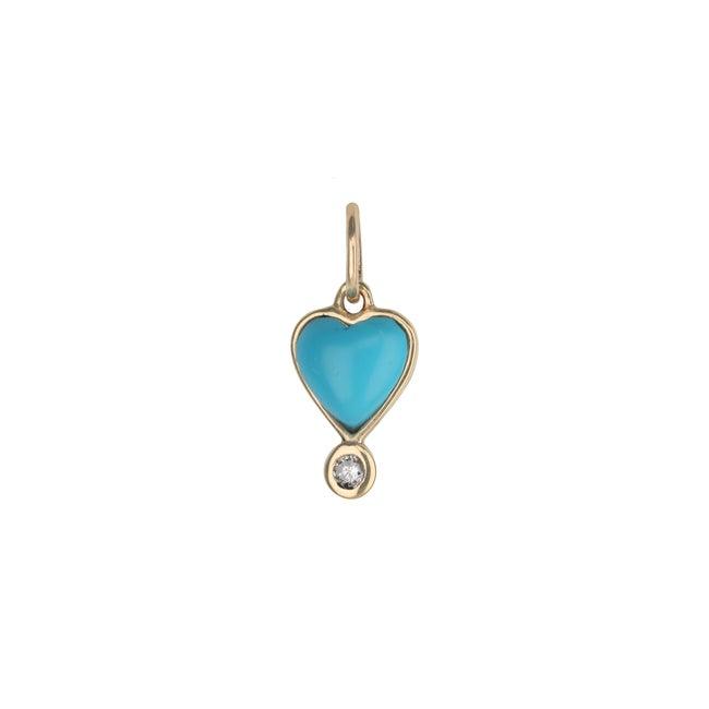Byrdie Heart Charm, Turquoise