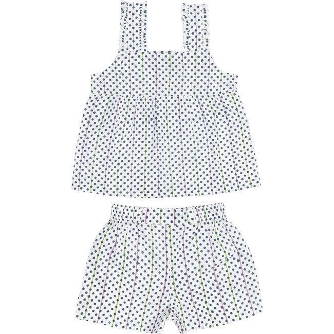 Simone Girls Pajama Set, Blue Polka Dot
