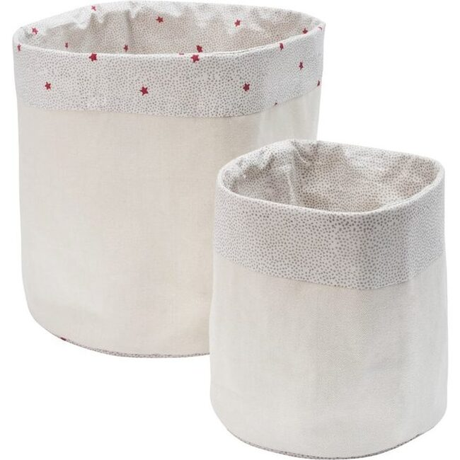 Charlie Lined Canvas Storage Bins, Set of Two