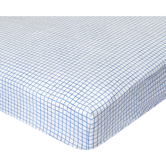 Archie Crib Fitted Sheet, Blue