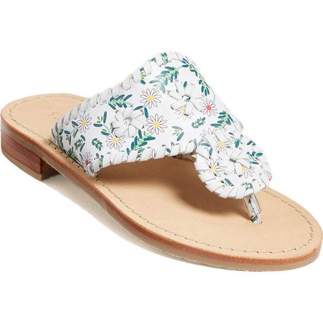 Girls Jacks Flat Sandal, White Daisy