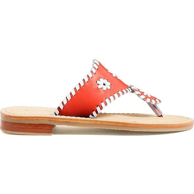 Girls Jacks Flat Sandal, Fire Red & White