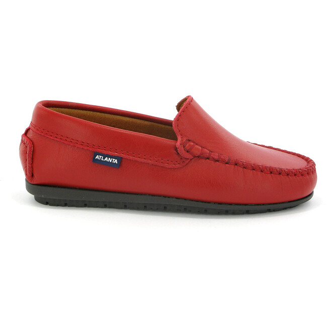 Plain Vamp Moccasins in Smooth Leather, Red