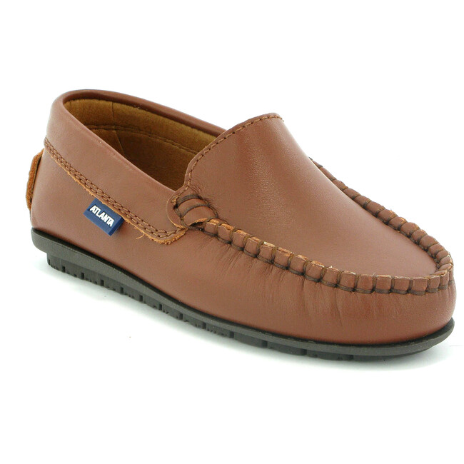 Plain Vamp Moccasins in Smooth Leather, Cuoio