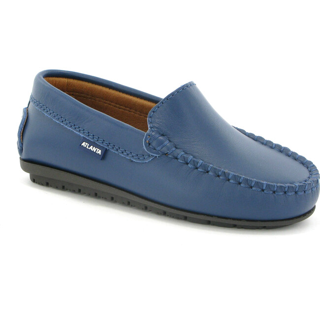 Plain Vamp Moccasins in Smooth Leather, Ocean