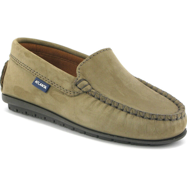 Plain Vamp Moccasins in Nubuck Leather, Toffee