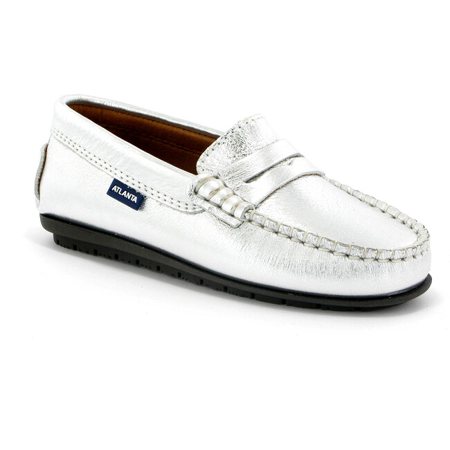 Penny Moccasins in Metallic Leather, Silver