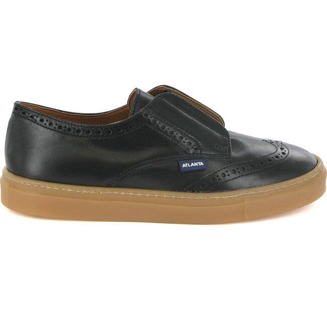 Oxford Tennis Sneaker, Black Leather