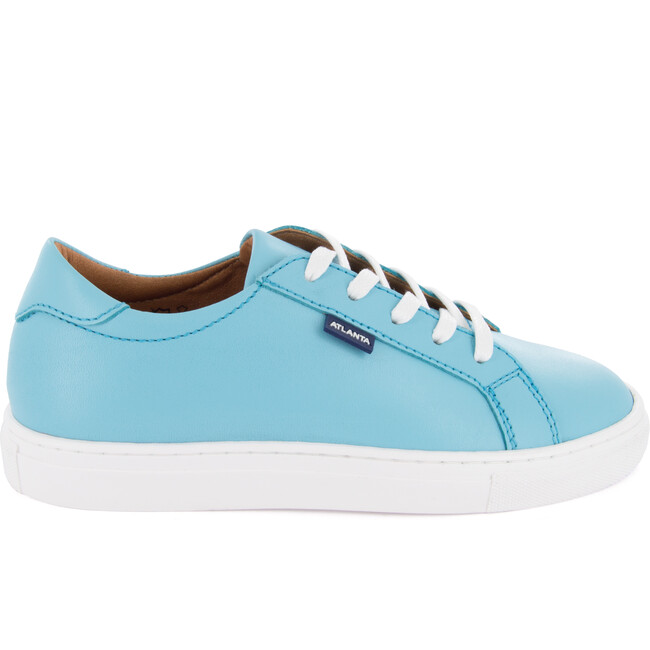 Laces Smooth Leather Sneakers, Turquoise