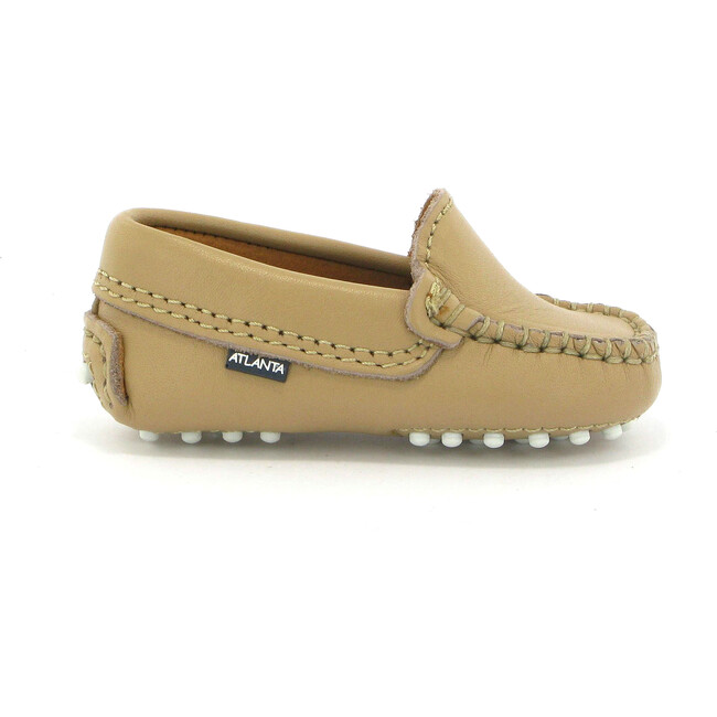 Baby Plain Vamp Moccasins in Smooth Leather, Beige