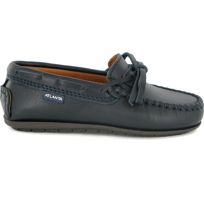 Laces Moccasins in Smooth Leather, Navy