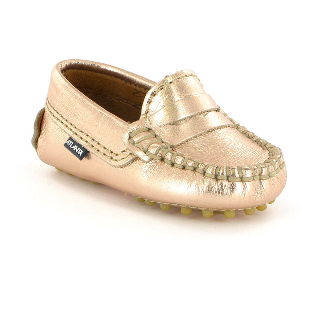 Baby Penny Moccasins in Metallic Leather, Rose Gold