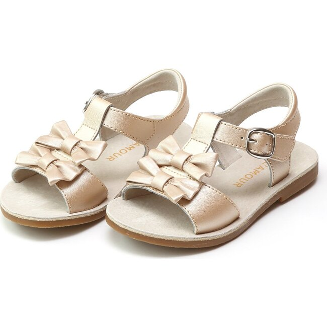 Serena Double Bow Sandal, Champagne