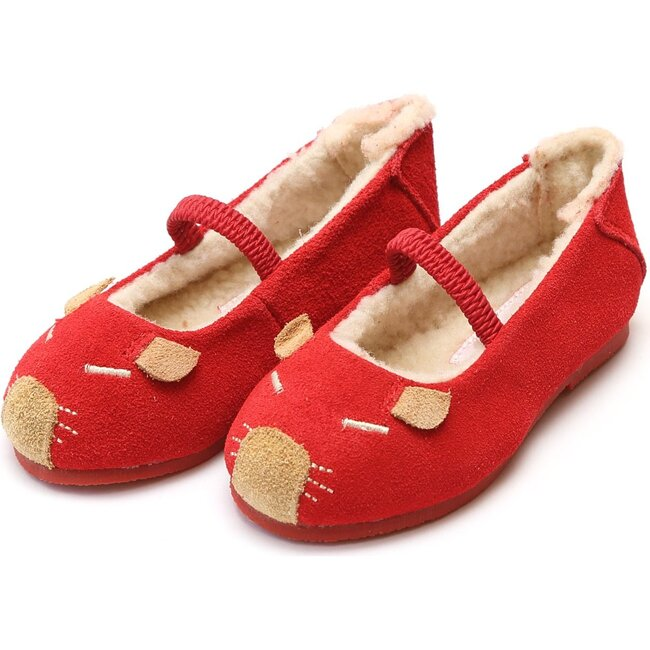 Mousie Leather Flat, Red