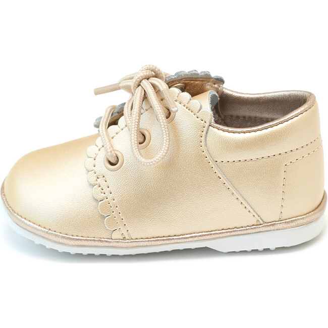 Lacey Scalloped Leather Lace Up Baby Shoe, Champagne