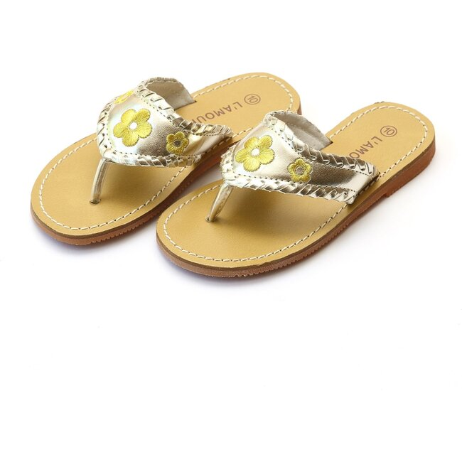 Jackie Whipstitched Thong Sandal, Gold