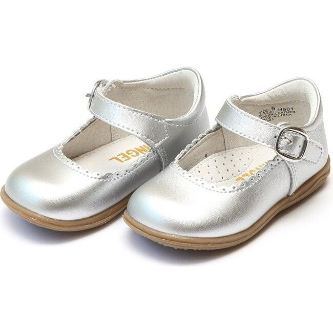Chloe Metallic Scalloped Leather Mary Jane, Silver