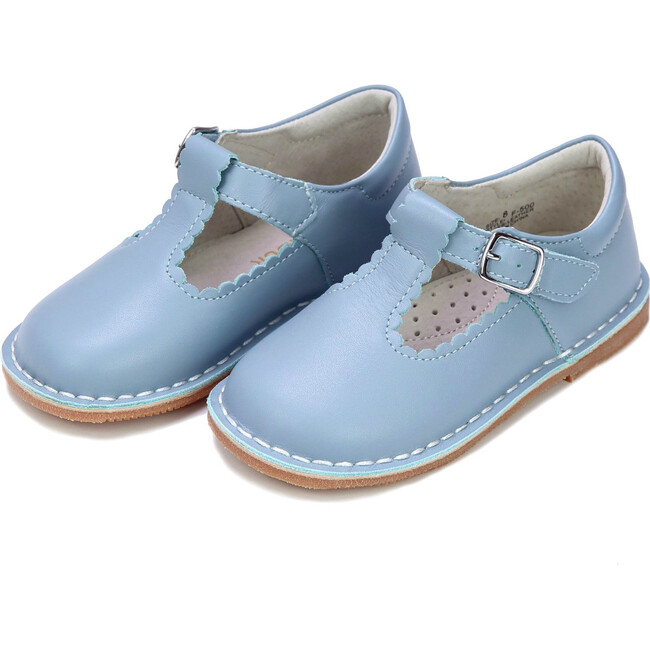 Selina Scalloped T-Strap Stitch Down Mary Jane, Dusty Blue - Mary Janes - 1