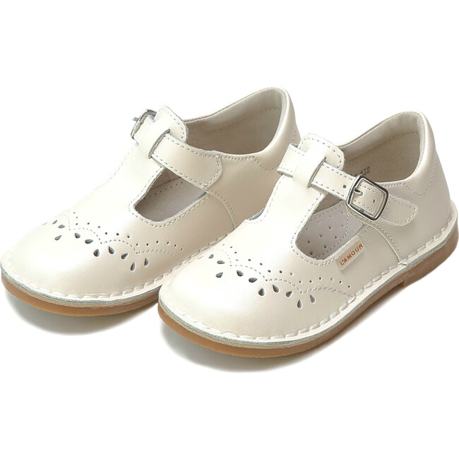 Ruthie T-Strap Stitched Mary Jane, Pearl White