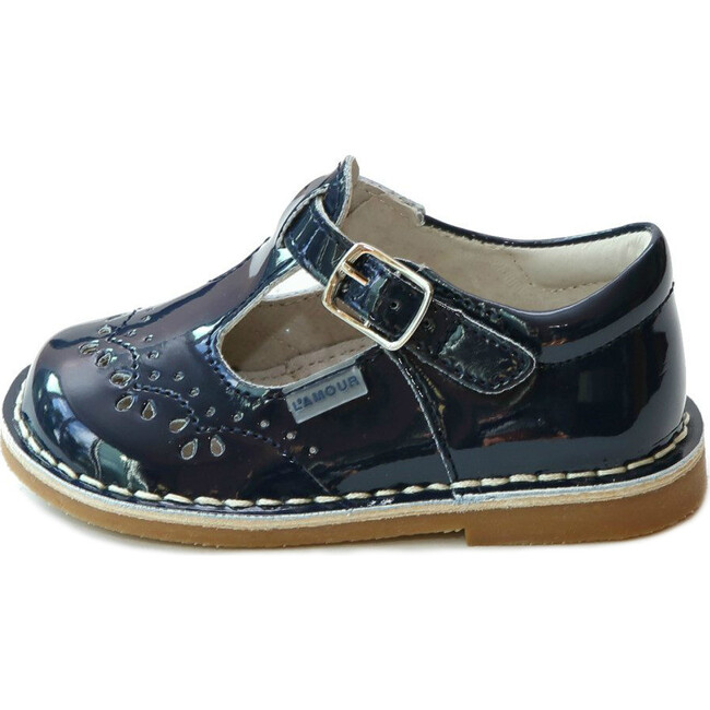 Ruthie T-Strap Stitched Patent Mary Jane, Navy