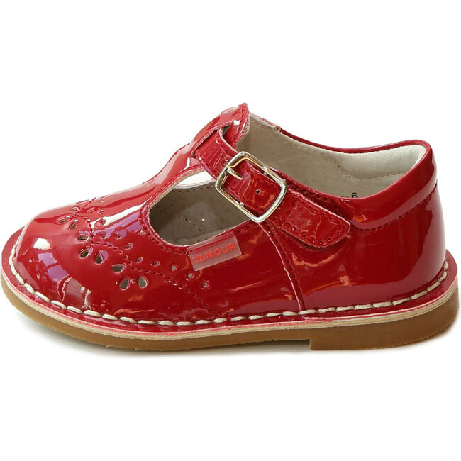 Ruthie T-Strap Stitched Patent Mary Jane, Red