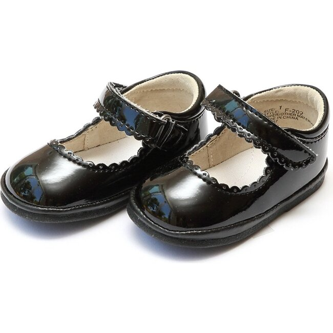 Baby Cara Scalloped Leather Mary Jane, Patent Black - Crib Shoes - 1