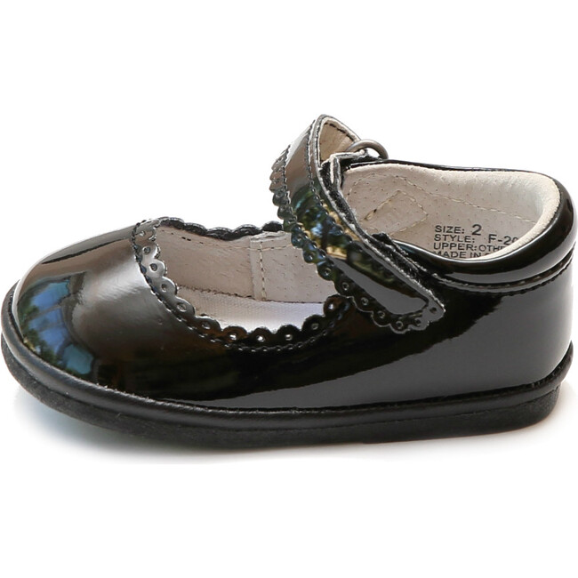 Baby Cara Scalloped Leather Mary Jane, Patent Black