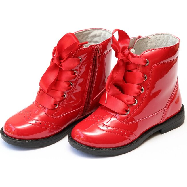 Stella Patent Wingtip Mid Boot, Red