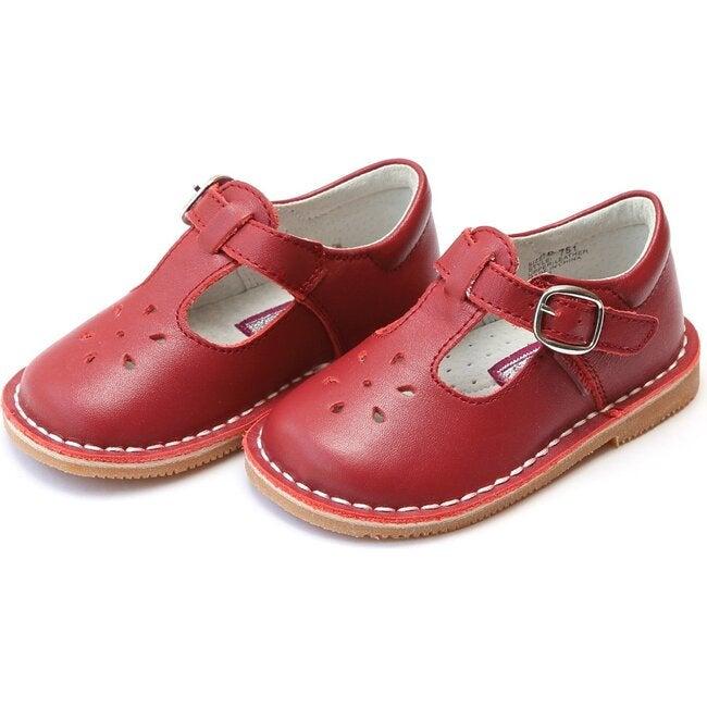 Joy Classic Leather Stitch Down T-Strap Mary Jane, Red