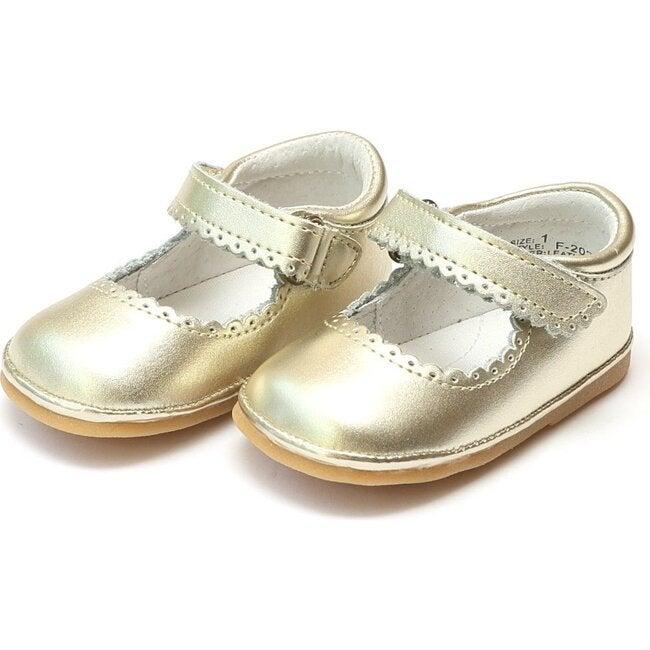 Baby Cara Metallic Scalloped Leather Mary Jane, Gold