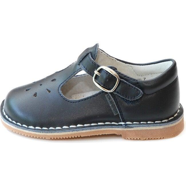 Joy Classic Leather Stitch Down T-Strap Mary Jane, Navy