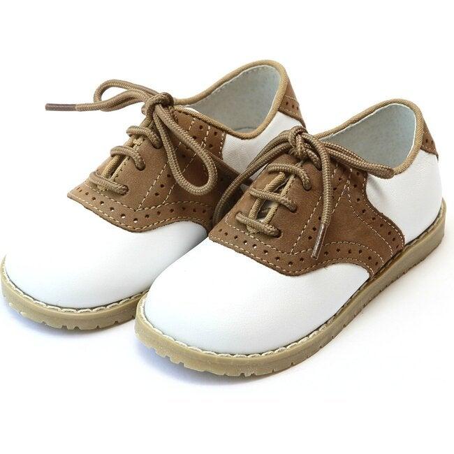 Luke Two Tone Leather Saddle Shoe, White/Khaki